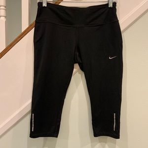 Nike dri fit cropped running leggings black yellow